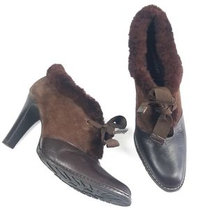 Naturalizer Andes Leather Faux Fur Booties 9M